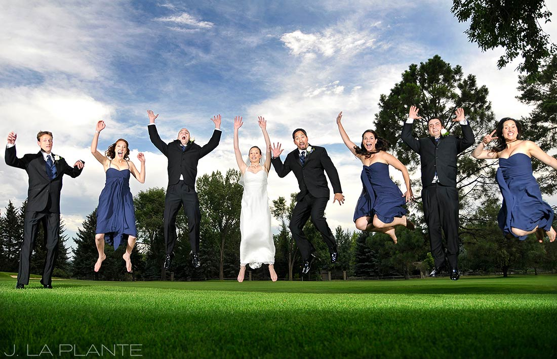 J. La Plante Photo | Boulder Wedding Photographer | Boulder Country Club Wedding | Jumping Bridal Party