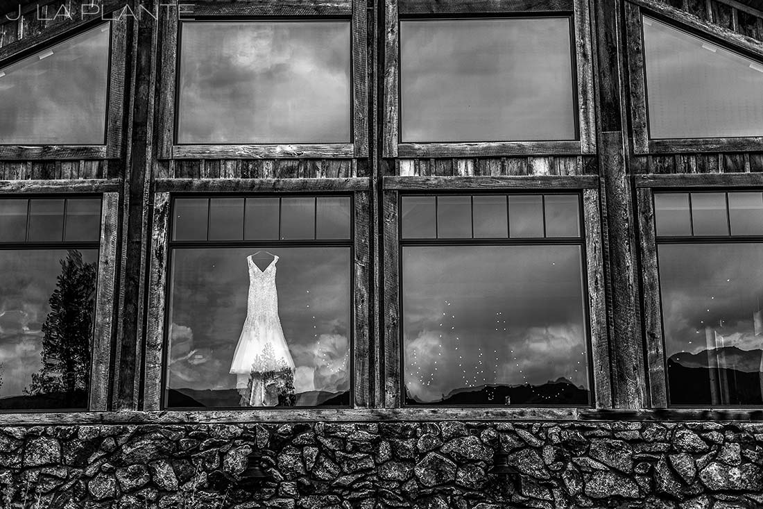 J. La Plante Photo | Winter Park Colorado Wedding Photographer | Devil's Thumb Ranch Wedding | Cool Wedding Dress Photo