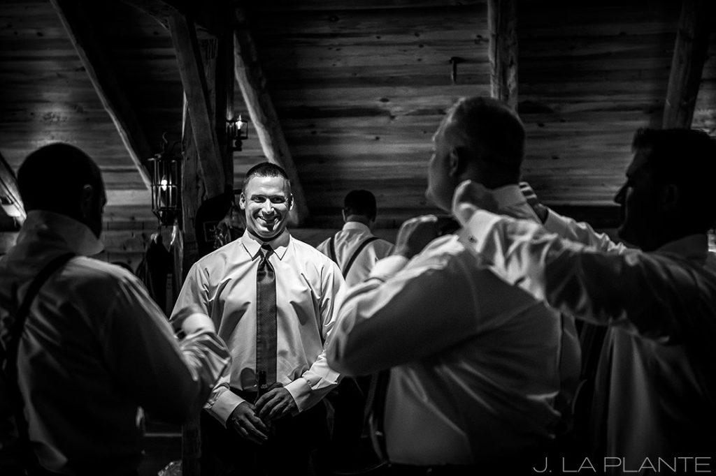 J. La Plante Photo | Winter Park Colorado Wedding Photographer | Devil's Thumb Ranch Wedding | Groom Getting Ready Black and White