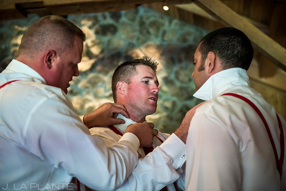 J. La Plante Photo | Winter Park Colorado Wedding Photographer | Devil's Thumb Ranch Wedding | Funny Photo of Groomsmen Getting Ready