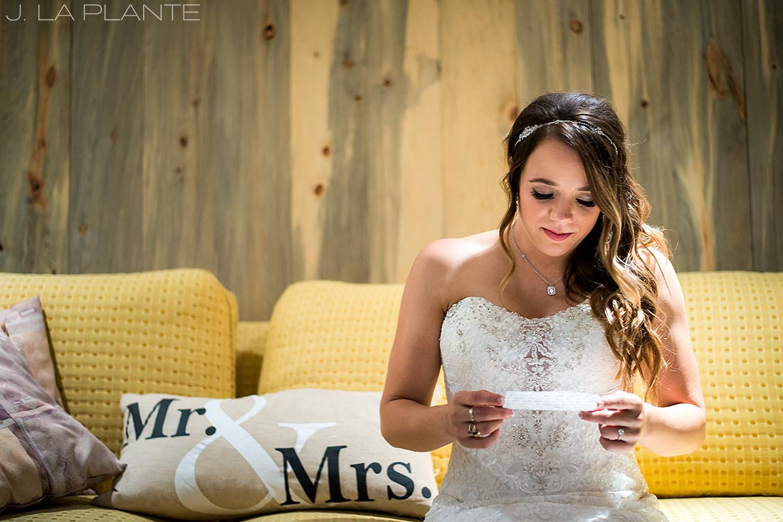 J. LaPlante Photo | Lyons Wedding Photographer | Mon Cheri Wedding | Bride Reading Grooms Letter