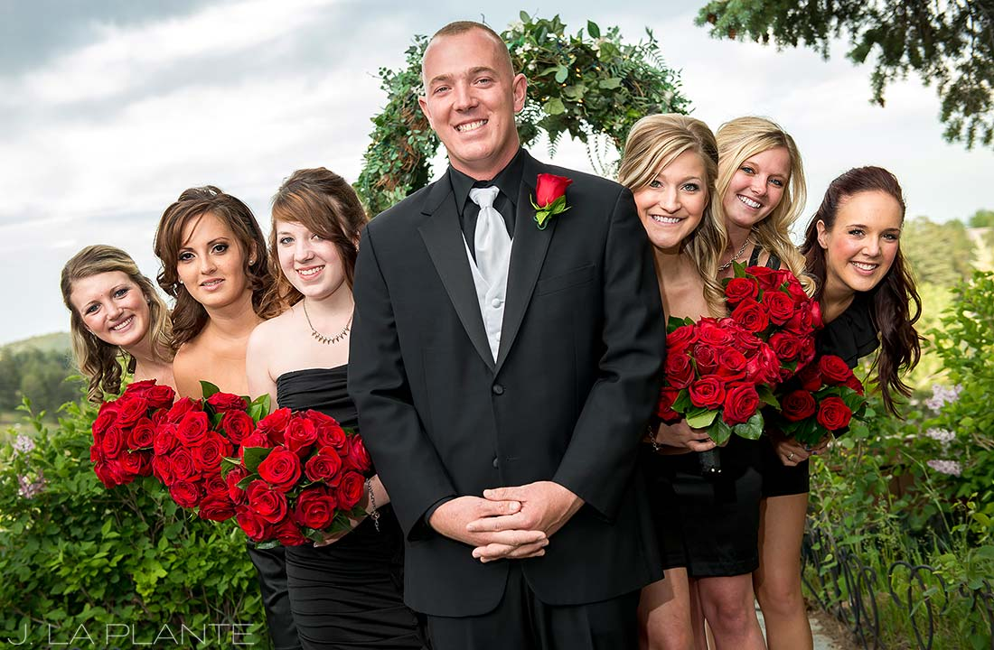 J. La Plante Photo | Colorado Wedding Photographer | Christies of Genesee Wedding | Groom with Bridesmaids