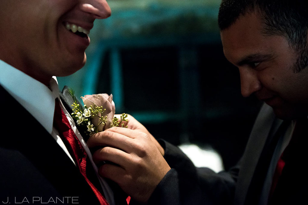 J. La Plante Photo | Winter Park Colorado Wedding Photographer | Devil's Thumb Ranch Wedding | Groom Boutonniere