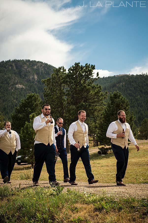J. LaPlante Photo | Lyons Wedding Photographer | Mon Cheri Wedding | Groomsmen Drinking Beers
