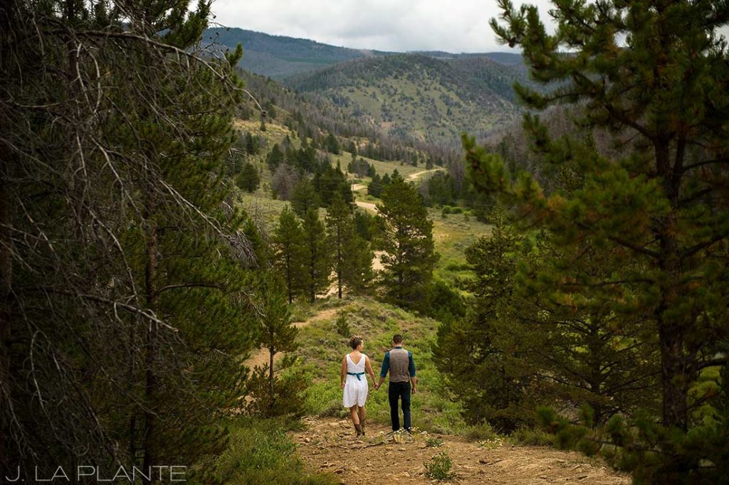 bride and groom hiking before ceremony