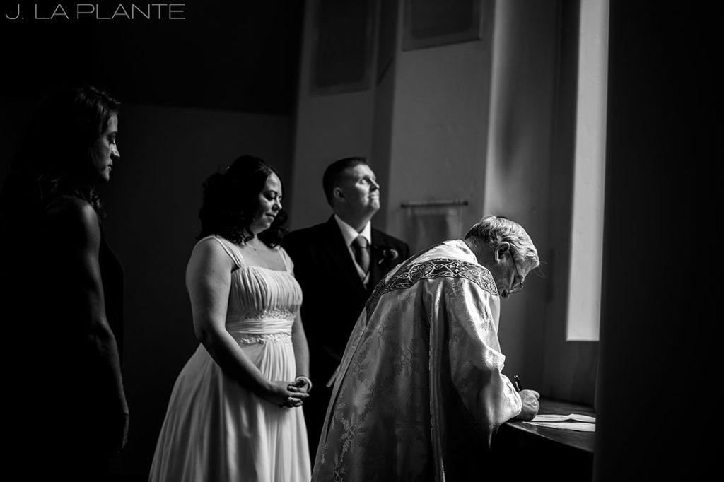 J. La Plante Photo   Vail Wedding Photographers   Vail Interfaith Chapel Wedding   Signing the Marriage License/