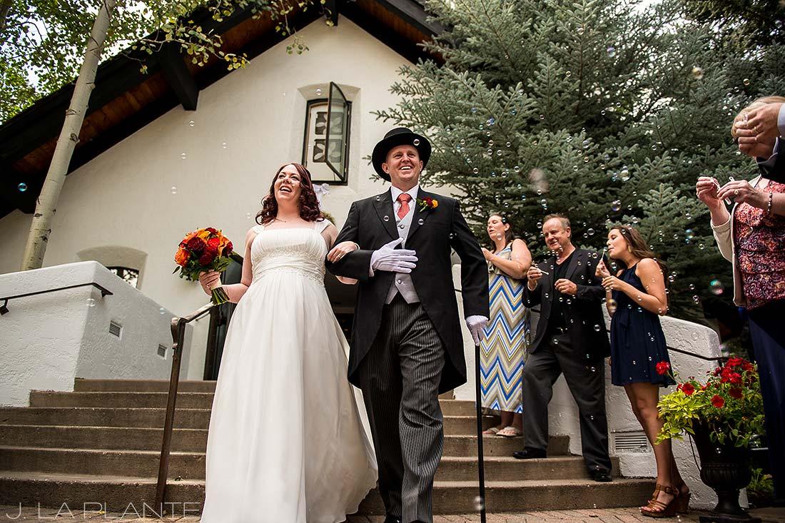 J. La Plante Photo | Vail Wedding Photographers | Vail Interfaith Chapel Wedding | Bubble Send Off