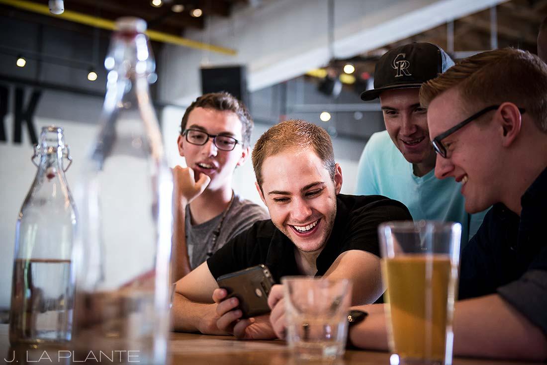 J. La Plante Photo | Boulder Wedding Photographers | Rayback Collective Boulder Colorado | Groomsmen Drinking at Bar Before Wedding