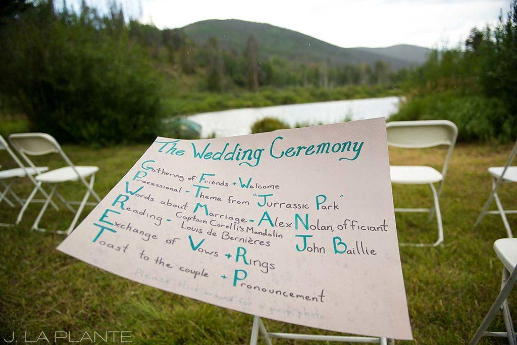 J. La Plante Photo | Colorado Wedding Photographer | Shadow Mountain Ranch Wedding | Wedding Ceremony Signage Inspiration