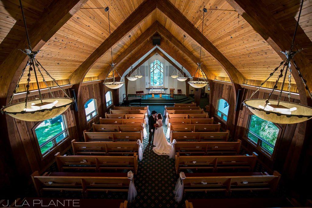 J. La Plante Photo   Vail Wedding Photographers   Vail Interfaith Chapel Wedding   Portrait of Bride and Groom in Church