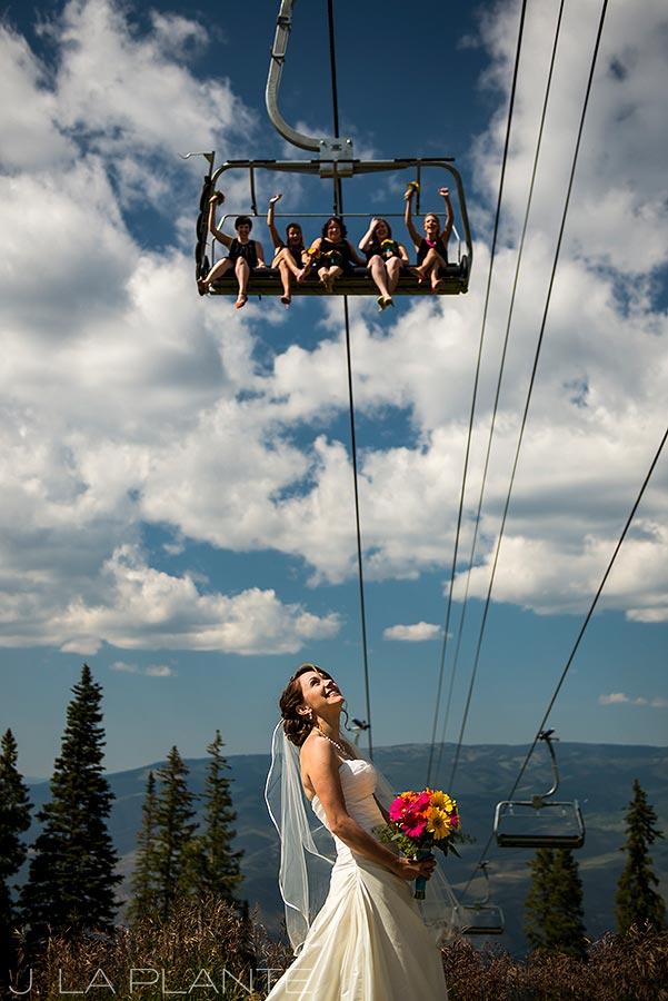 J. La Plante Photo   Beaver Creek Wedding Photographers   Beaver Creek Mountain Wedding   Bridesmaids on Chairlift
