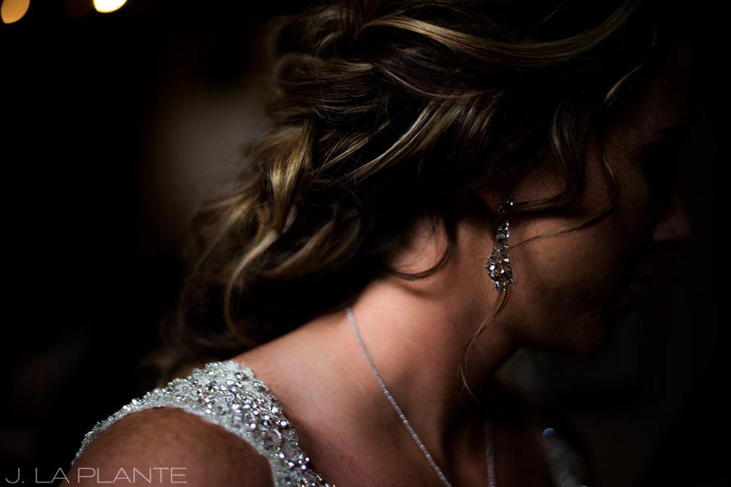 J. La Plante Photo | Winter Park Colorado Wedding Photographer | Devil's Thumb Ranch Wedding | Detail Photo of Bride's Earrings