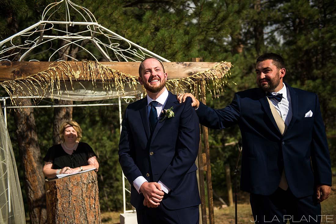 J. LaPlante Photo | Lyons Wedding Photographer | Mon Cheri Wedding | Groom Watching Bride Walk Down Aisle