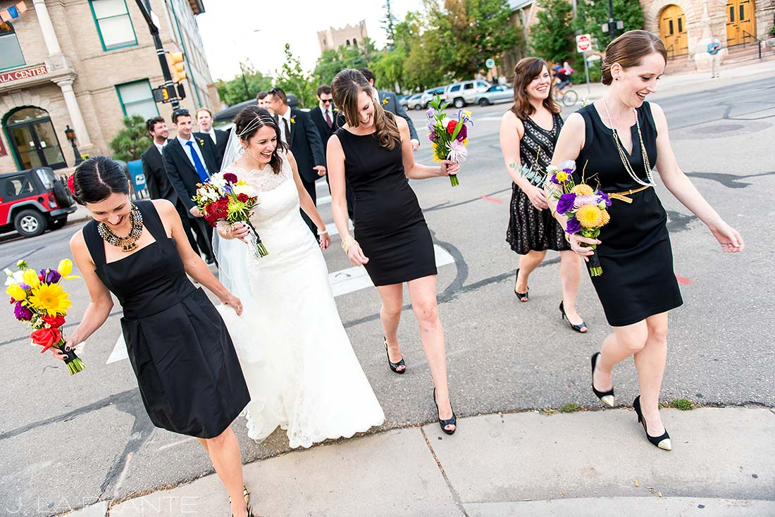 J. La Plante Photo | Boulder Wedding Photographer | Rembrandt Yard Wedding | Bridal Party Crossing Street