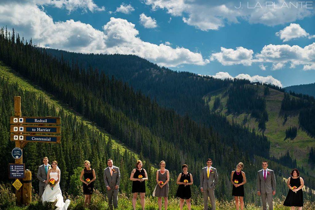 J. La Plante Photo | Beaver Creek Wedding Photographers | Beaver Creek Mountain Wedding | Wedding Party Portrait on Mountain