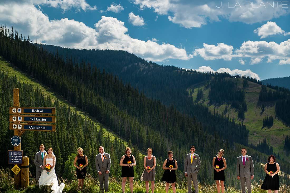 J. La Plante Photo   Beaver Creek Wedding Photographers   Beaver Creek Mountain Wedding   Wedding Party Portrait on Mountain
