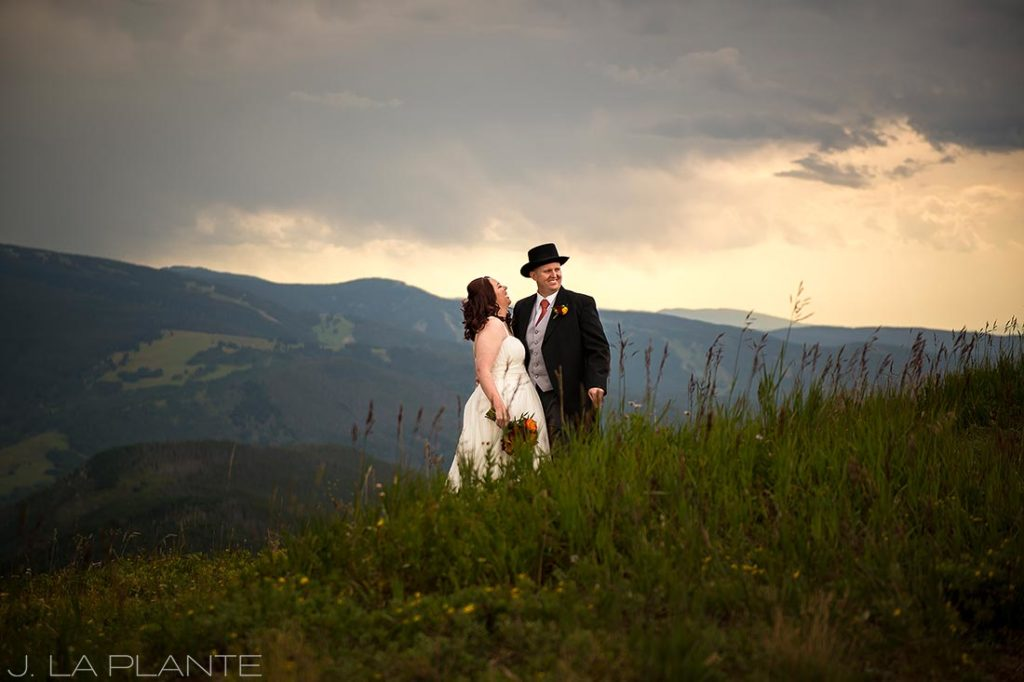 J. La Plante Photo   Vail Wedding Photographers   Vail Mountain Resort Wedding   Portrait of Bride and Groom on Mountain