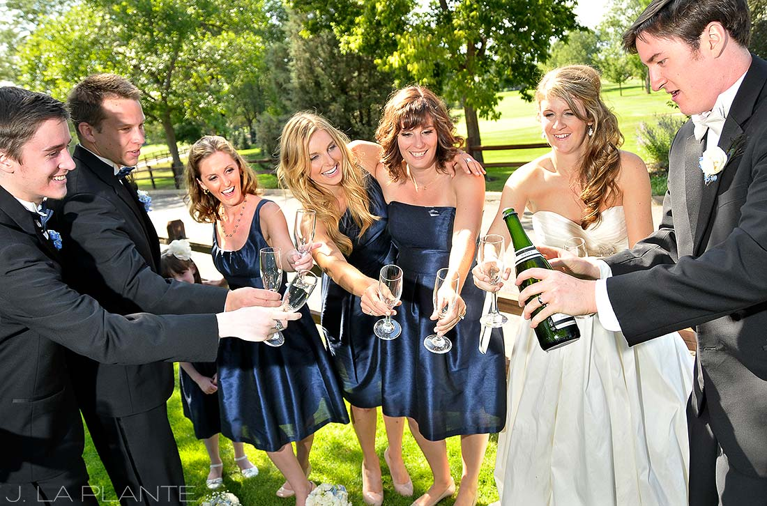 J. La Plante Photo | Boulder Wedding Photographer | Boulder Country Club Wedding | Bridal Party Drinking Champagne
