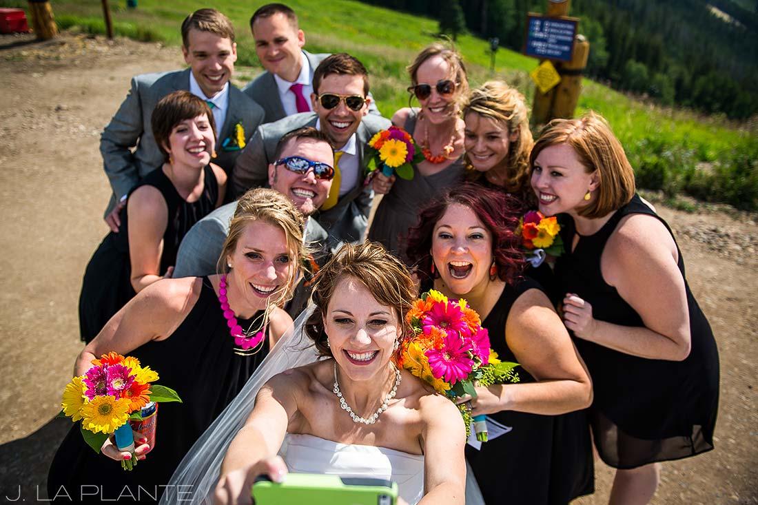 J. La Plante Photo   Beaver Creek Wedding Photographers   Beaver Creek Mountain Wedding   Wedding Party Taking Selfie
