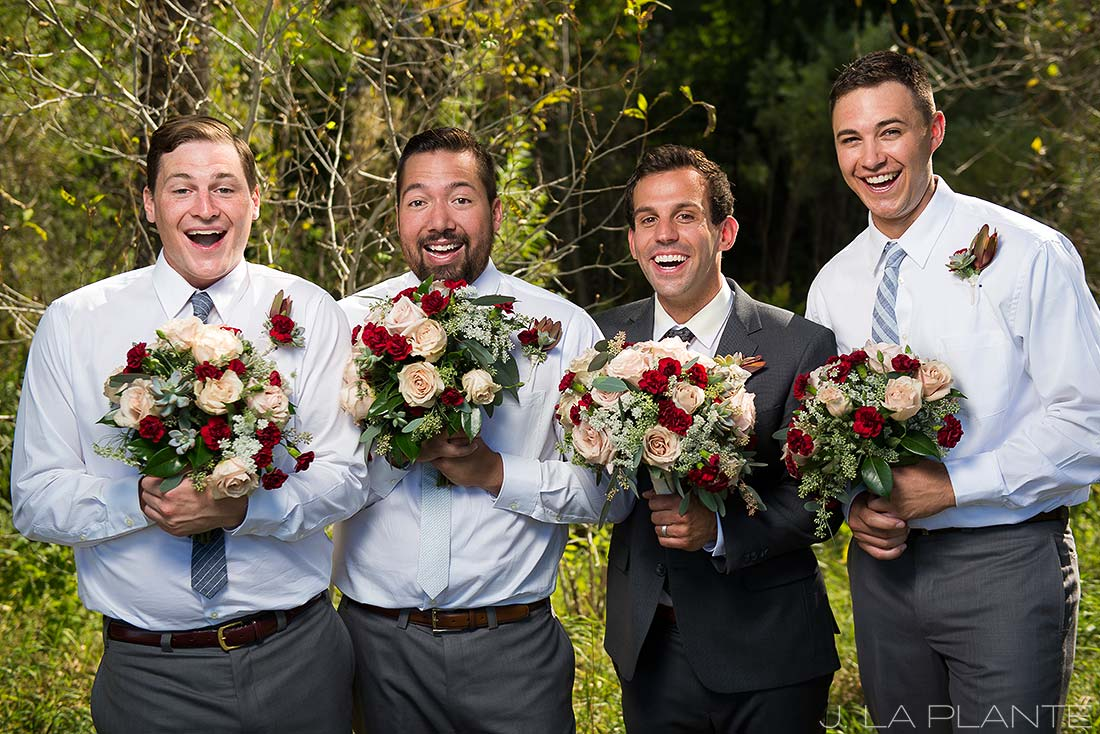 J. La Plante Photo | Denver Wedding Photographer | Chatfield Botanic Gardens Wedding | Groomsmen Holding Bouquets