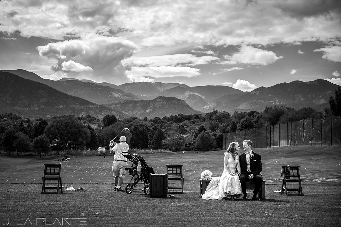 J. LaPlante Photo | Colorado Springs Wedding Photographers | Cheyenne Mountain Resort Wedding | Bride and Groom at Driving Range