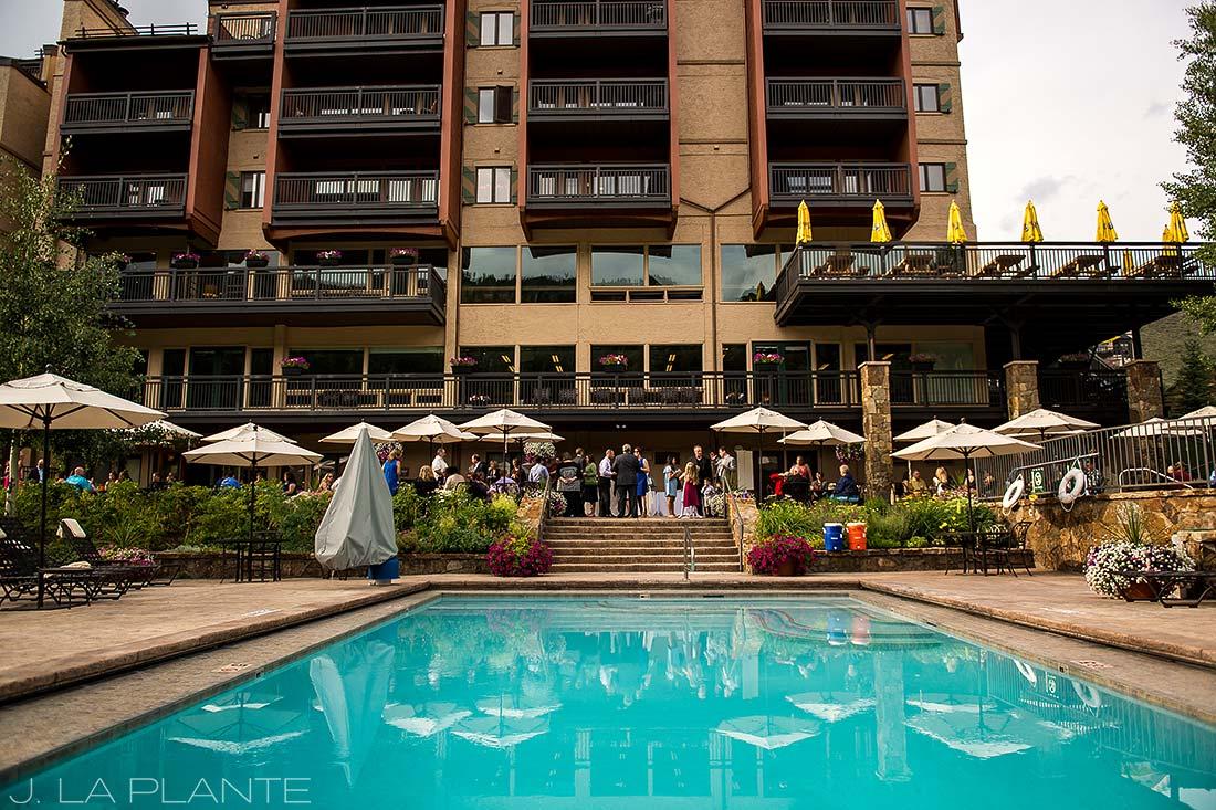 J. La Plante Photo | Vail Wedding Photographers | Lion Square Lodge Wedding | Poolside Wedding Reception
