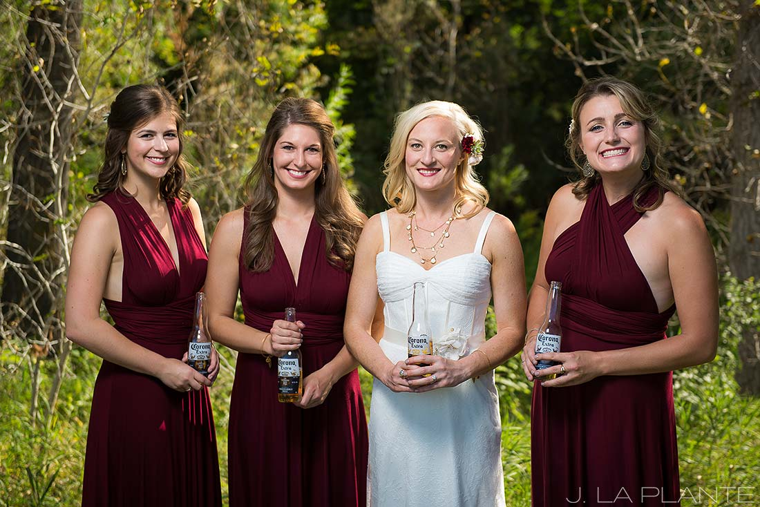 J. La Plante Photo | Denver Wedding Photographer | Chatfield Botanic Gardens Wedding | Bridesmaids Drinking Beer