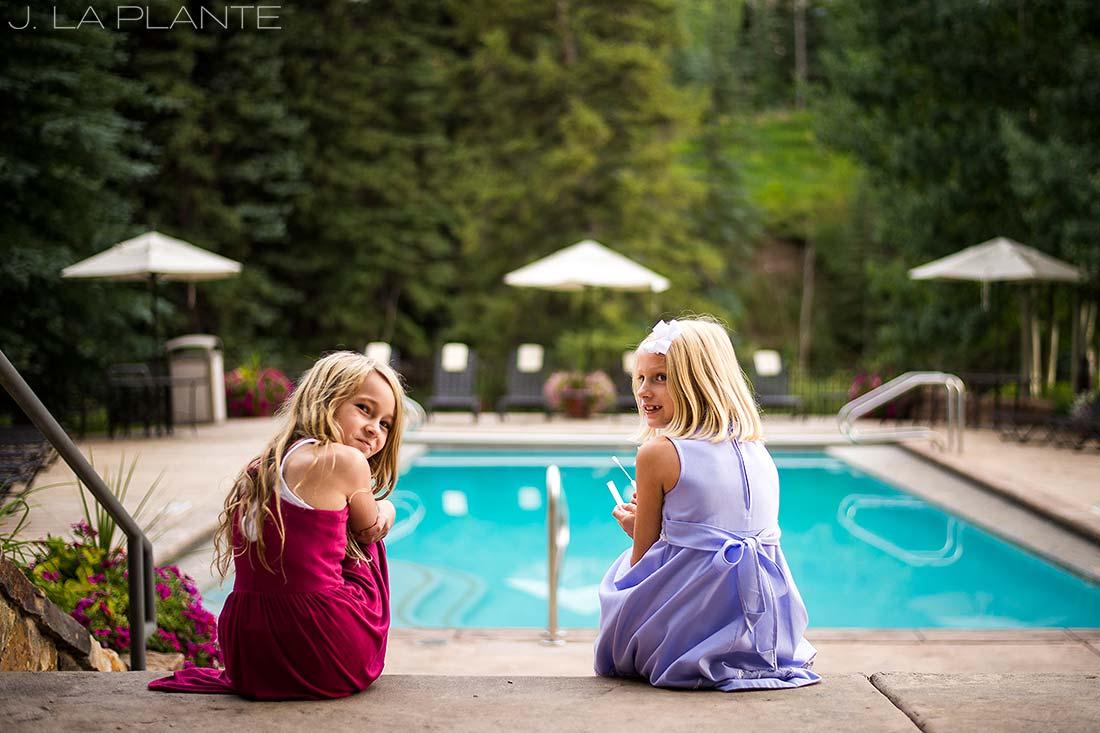 J. La Plante Photo | Vail Wedding Photographers | Lion Square Lodge Wedding | Flower Girls Blowing Bubbles