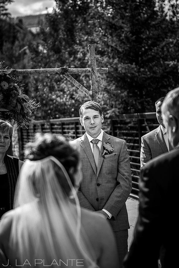 J. La Plante Photo   Beaver Creek Wedding Photographers   Beaver Creek Lodge Wedding   Groom Watching Bride Walk Down Aisle