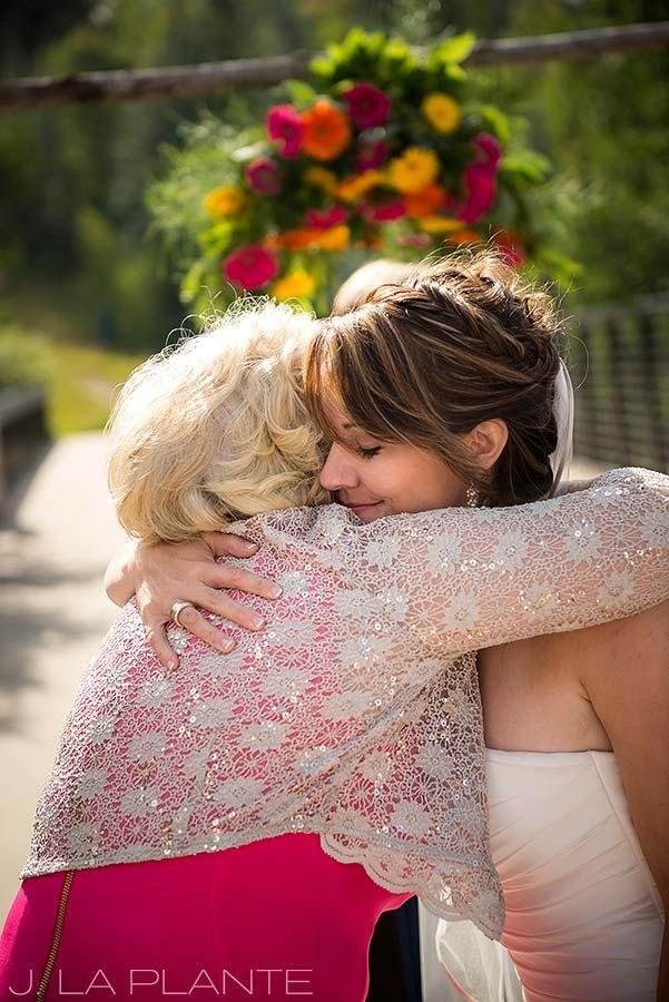 J. La Plante Photo   Beaver Creek Wedding Photographers   Beaver Creek Lodge Wedding   Bride Hugging Mother