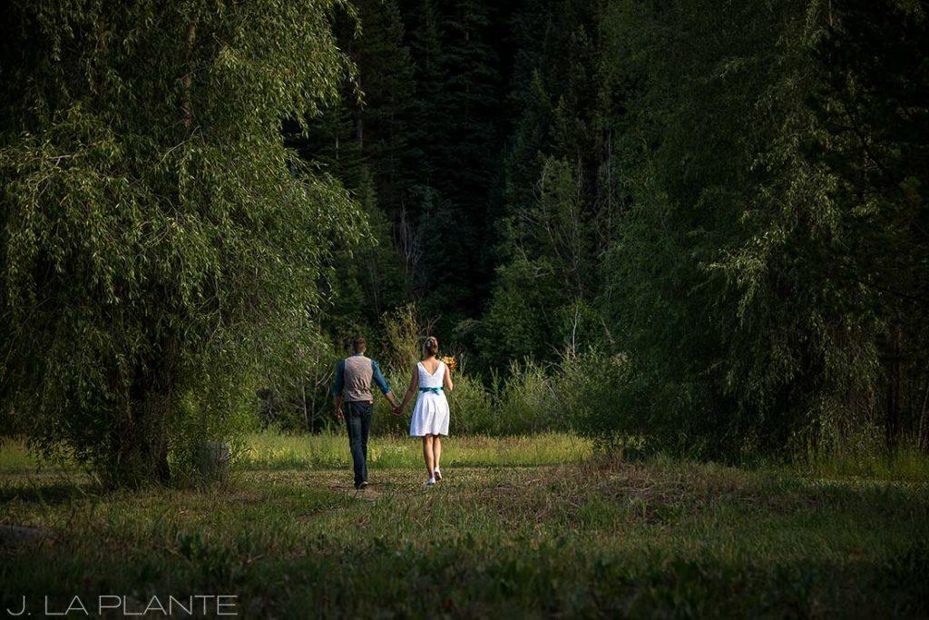 J. La Plante Photo | Rocky Mountain Wedding Photographer | Shadow Mountain Ranch Wedding | Bride and Groom Leaving Ceremony