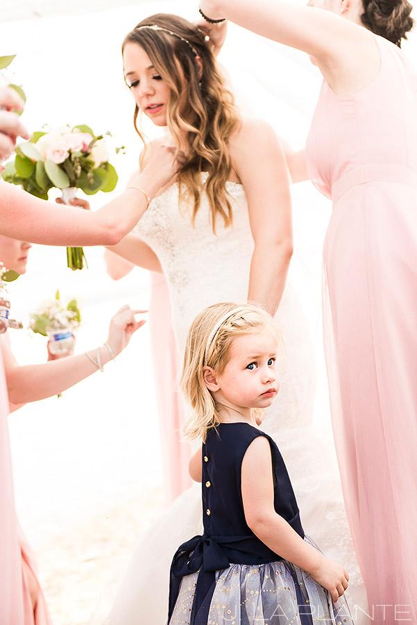 J. LaPlante Photo | Boulder Wedding Photographer | Mon Cheri Wedding | Flower Girl Holding Brides Hand