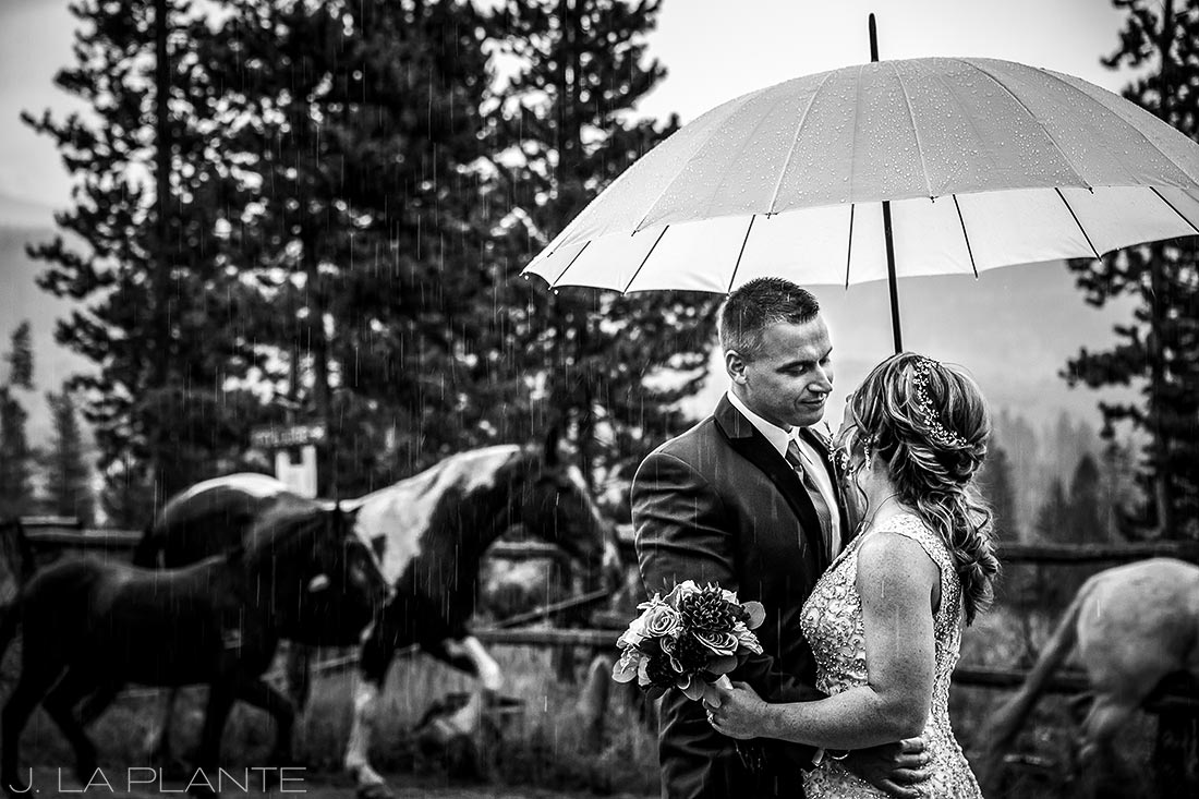 J. La Plante Photo | Winter Park Colorado Wedding Photographer | Devil's Thumb Ranch Wedding | Bride and Groom with Horses