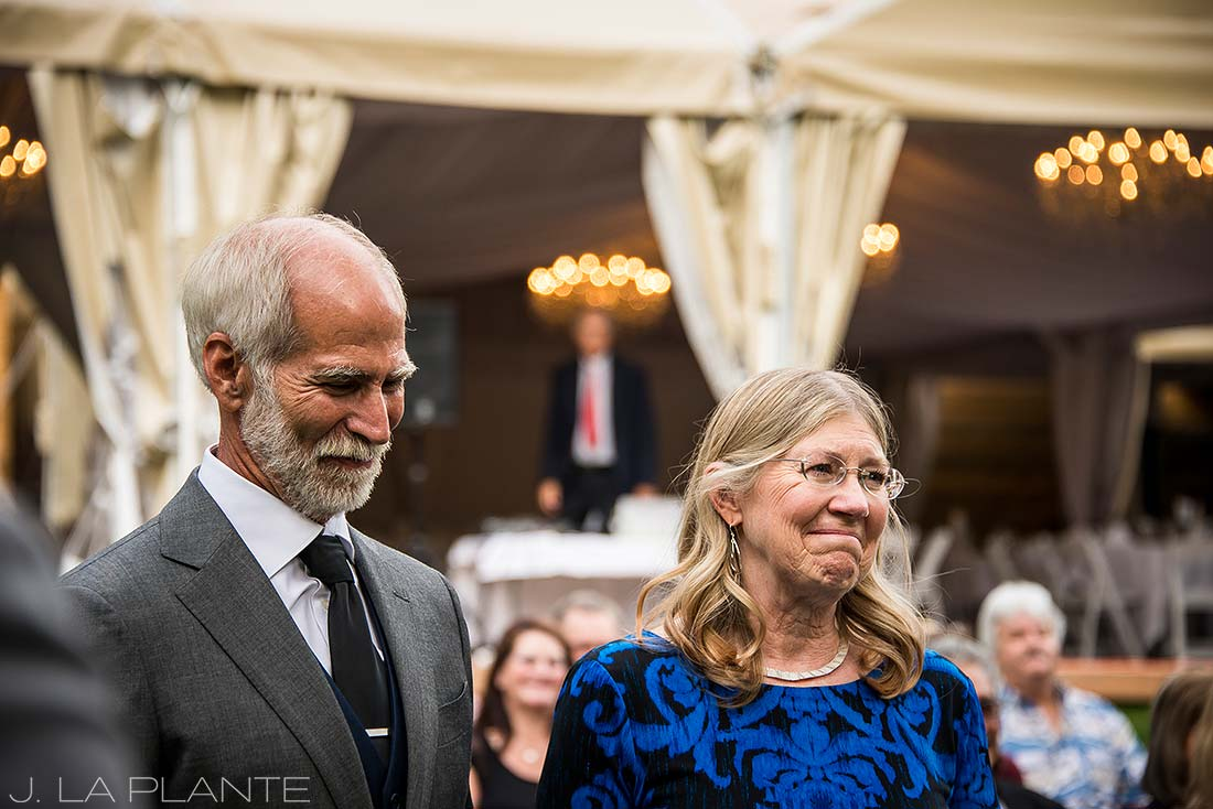 J. La Plante Photo | Boulder Wedding Photographers | Wedgewood on Boulder Creek Wedding | Parents of Groom Watching Ceremony