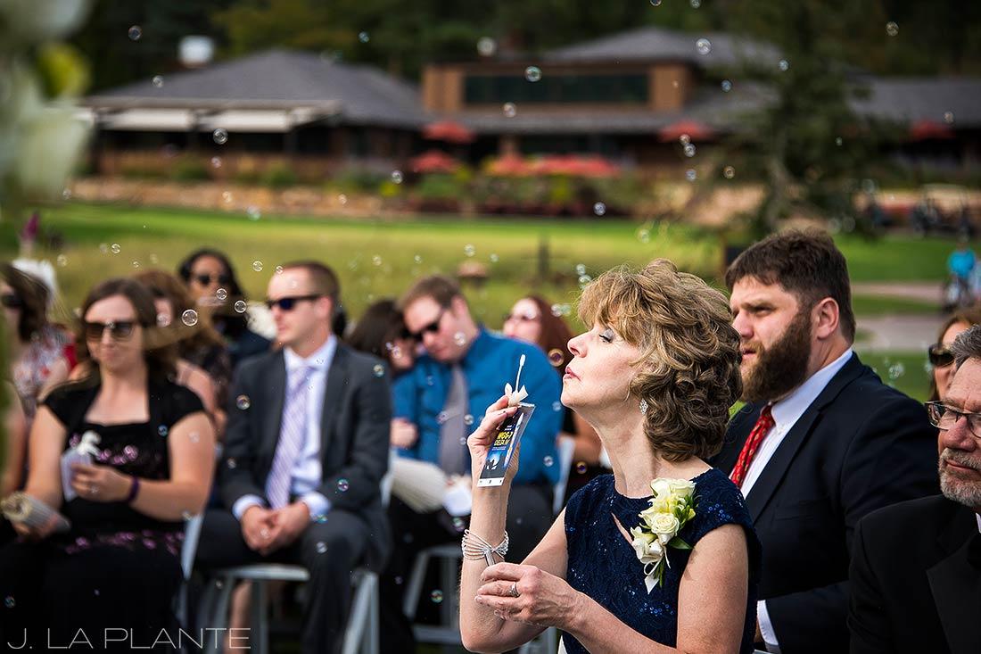 J. LaPlante Photo | Colorado Springs Wedding Photographers | Cheyenne Mountain Resort Wedding | Mother of the Bride Bubble Send Off