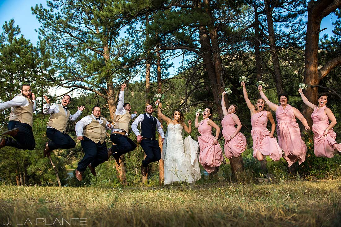 J. LaPlante Photo | Boulder Wedding Photographer | Mon Cheri Wedding | Jumping Bridal Party