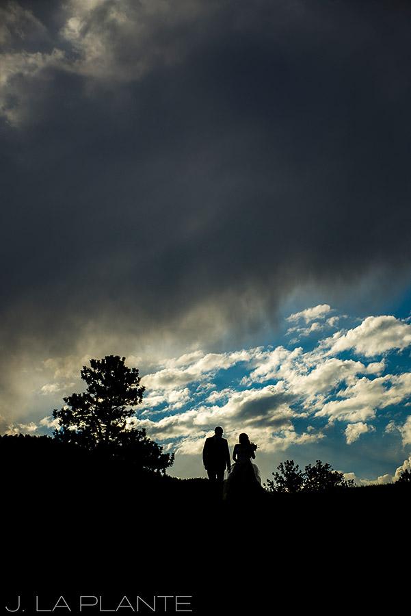 J. LaPlante Photo | Boulder Wedding Photographer | Mon Cheri Wedding | Bride and Groom Silhouette