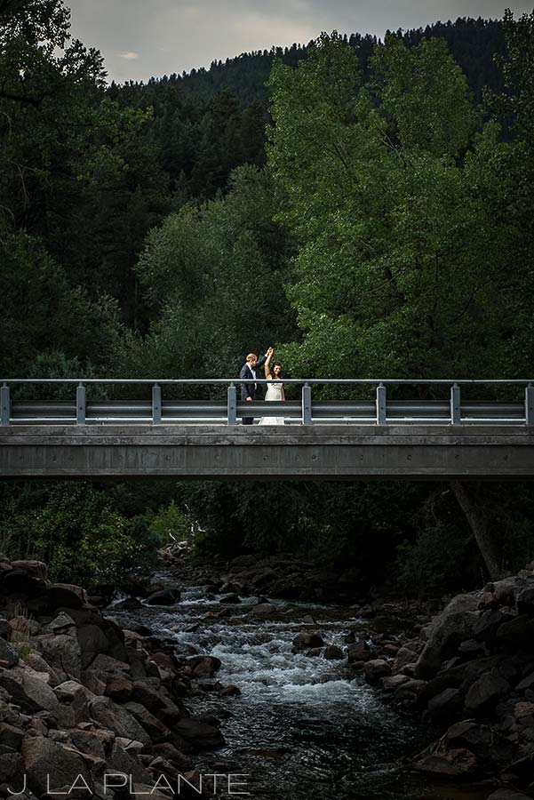 J. La Plante Photo | Boulder Wedding Photographers | Wedgewood on Boulder Creek Wedding | Bride and Groom on Bridge