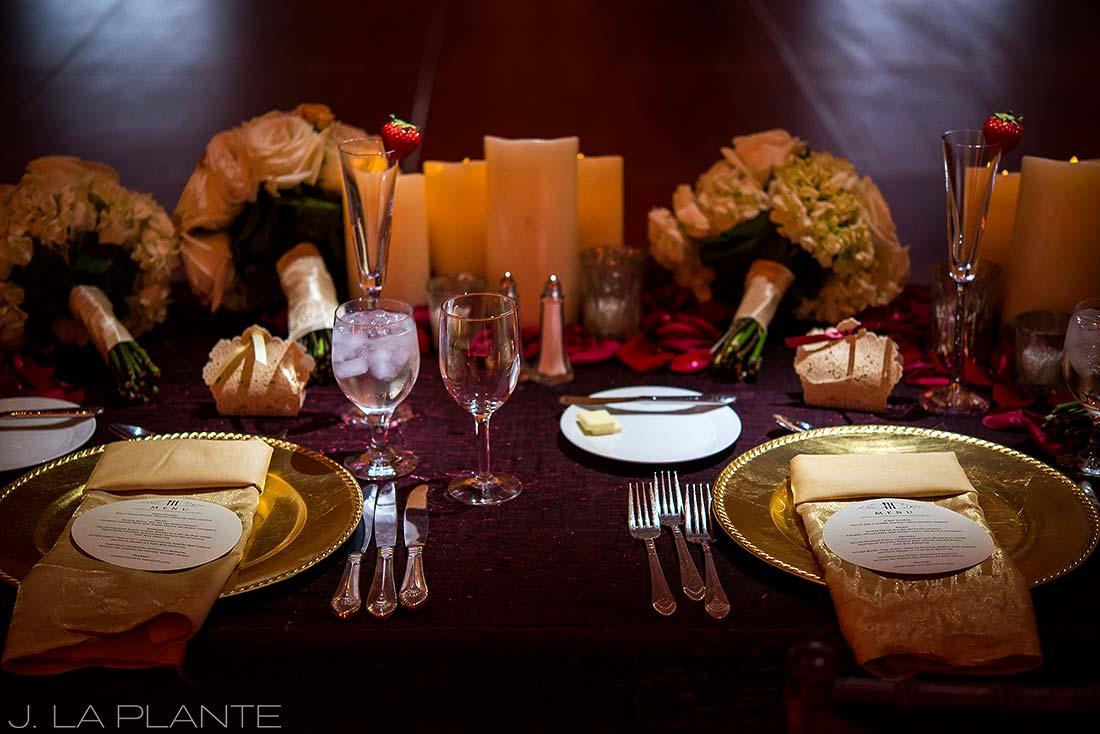 J. LaPlante Photo | Colorado Springs Wedding Photographers | Cheyenne Mountain Resort Wedding | Sweetheart Table Place Settings