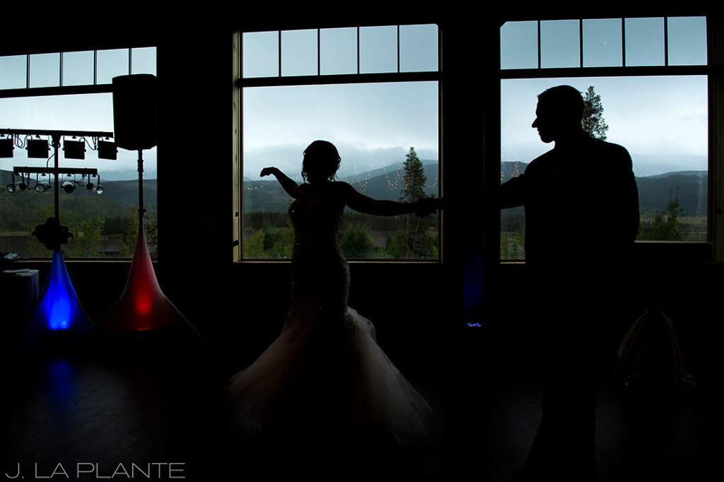 J. La Plante Photo | Winter Park Colorado Wedding Photographer | Devil's Thumb Ranch Wedding | First Dance Silhouette