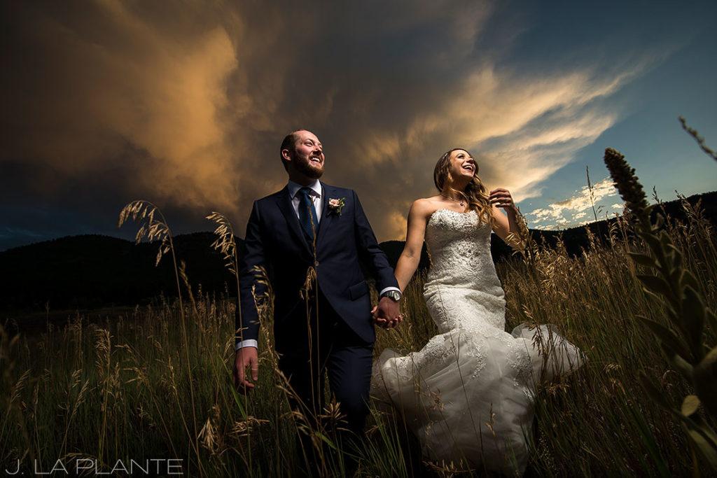 sunset wedding photo in colorado