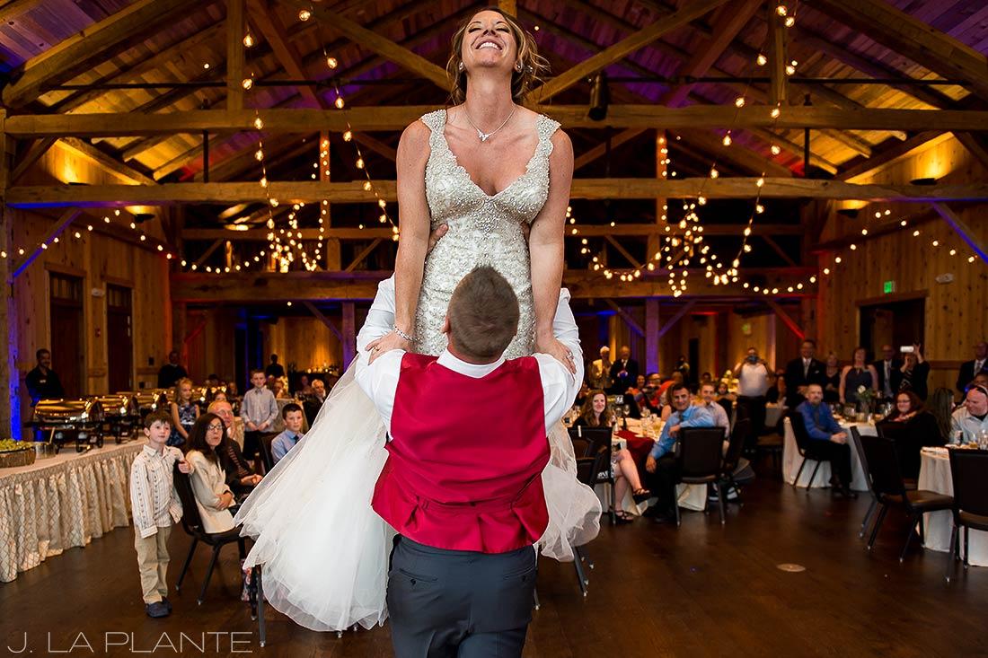 J. La Plante Photo | Winter Park Colorado Wedding Photographer | Devil's Thumb Ranch Wedding | First Dance Dirty Dancing Lift