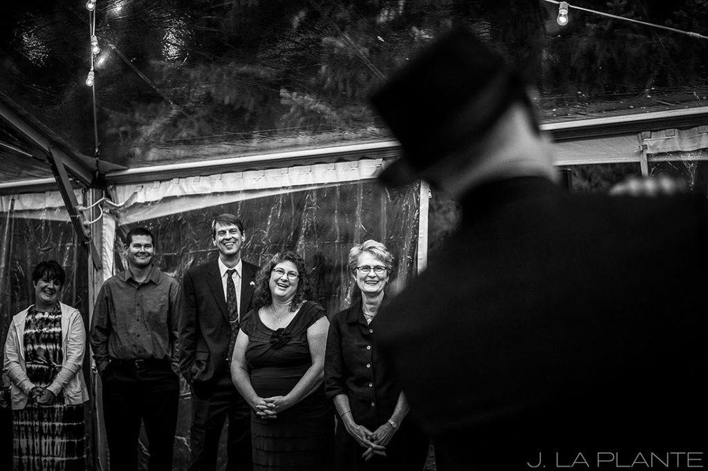 J. La Plante Photo   Vail Wedding Photographers   Lion Square Lodge Wedding   Guests Watching First Dance