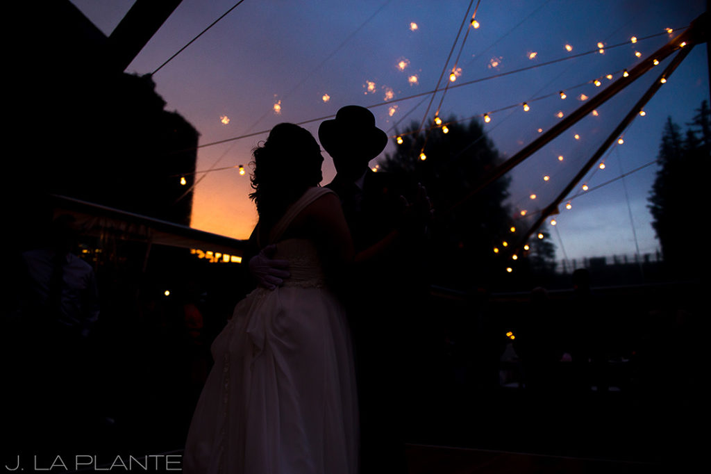 J. La Plante Photo   Vail Wedding Photographers   Lion Square Lodge Wedding   First Dance at Sunset