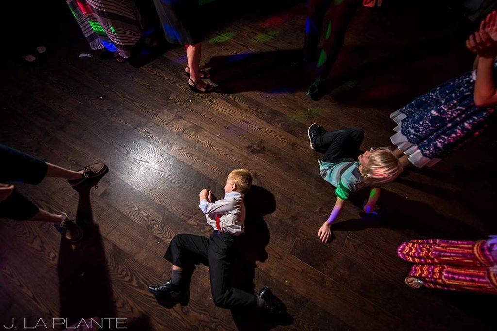 J. La Plante Photo | Winter Park Colorado Wedding Photographer | Devil's Thumb Ranch Wedding | Ring Bearer Break Dancing