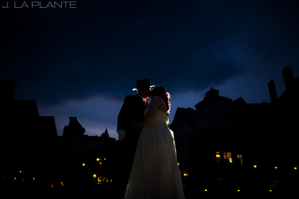 J. La Plante Photo   Vail Wedding Photographers   Vail Resort Lionshead Wedding   Bride and Groom Sunset Photo