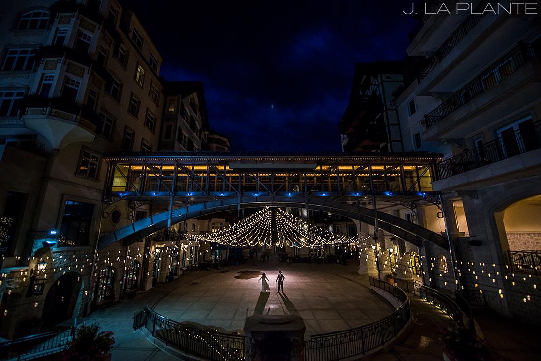 J. La Plante Photo | Vail Wedding Photographers | Vail Resort Lionshead Wedding | Bride and Groom Under the Lights