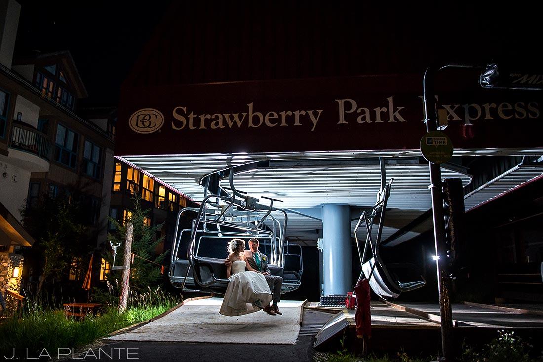 J. La Plante Photo   Beaver Creek Wedding Photographers   Beaver Creek Mountain Wedding   Bride and Groom on Chairlift