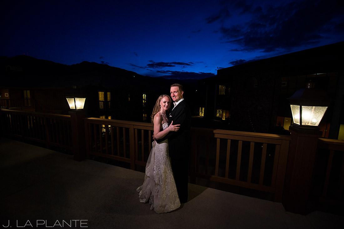 J. LaPlante Photo | Colorado Springs Wedding Photographers | Cheyenne Mountain Resort Wedding | Nighttime Portrait of Bride and Groom