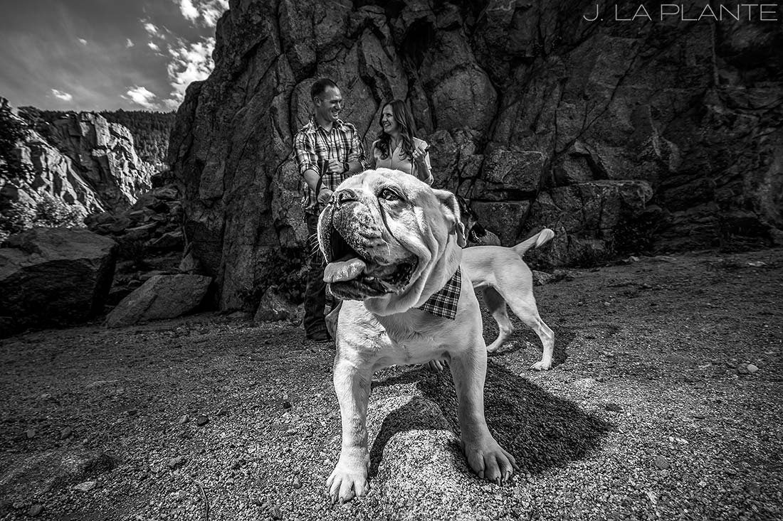 Hiking engagement session with dogs | Boulder engagement photographers | Boulder Canyon engagement | J. La Plante Photo